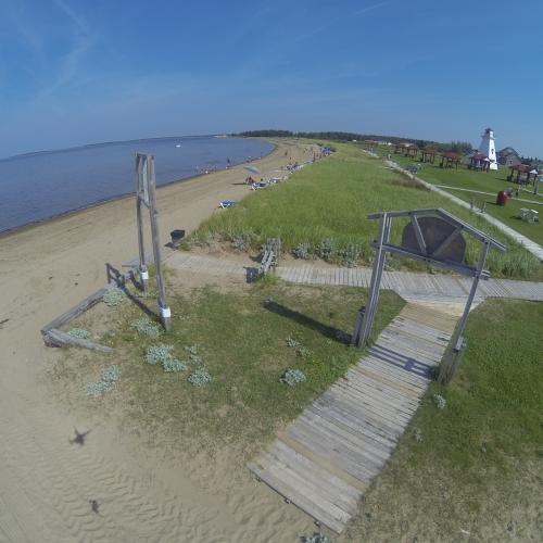 A bird's-eye view of Les Chalets de la Plage in Bas-Caraquet